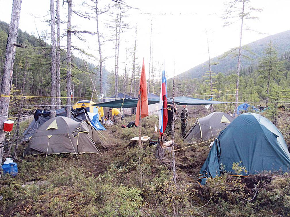 Палаточный лагерь, Патомский кратер, Иркутская область