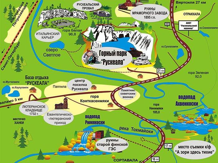 Схема горного парка Рускеала, Карелия
